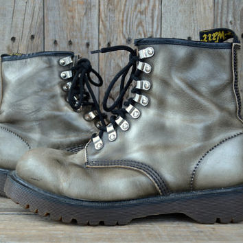 Vintage 90's Silver Leather Doc Martins Seapunk Combat Boots, Mens 9