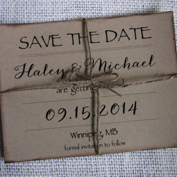 Rustic Save the Date Card, Kraft Save the Date, Wedding Save the Date