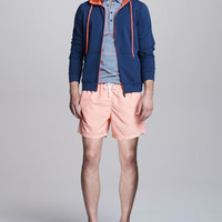 Two-Tone Zip Hoodie, Striped Jersey Polo & Check Swim Trunks
