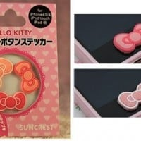 Hello Kitty Pink Ribbon Bow Home Button Stickers for iphone, ipod, ipad