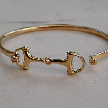 Beautiful Solid 14K Gold Small Women or Men's Horse Snaffle Bit Bangle Bracelet