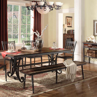 Lifestyle Walnut Wood & Metal Bench Dining Set