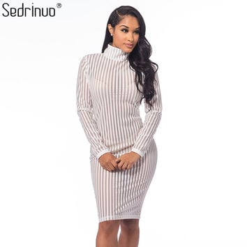 Autumn Fashion Long Sleeve Sexy Bodycon Party White Dress Striped Mesh Turtleneck Women Clothing Club Dress