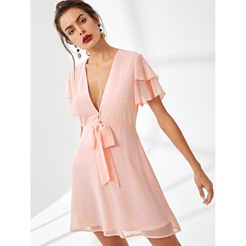 Pink Tiered Flutter Sleeve Knot Plunging Neck Dress