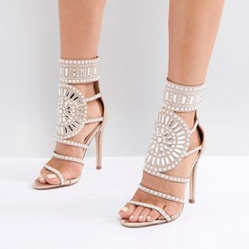 Public Desire Cleopatra Embellished Heeled Sandals in Rose Gold Satin at asos.com