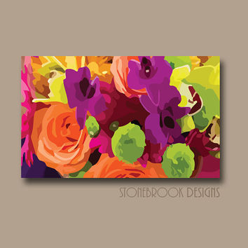 FLOWER Wall Art CANVAS Painting Vivid Colorful Artwork Large Image Wrap Floral Bouquet Decor Lime Purple Orange Hot Pink Free Shipping