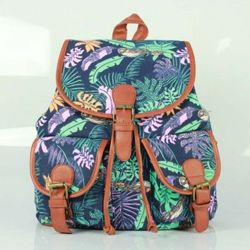 Leaves School Bag Canvas Casual Backpack Daypack