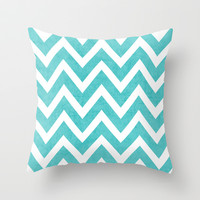 aqua chevron Throw Pillow by her art
