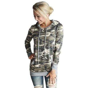 Tops 2016 Womens Shirts Hooded Autumn Spring Long Sleeved Tee Shirt Camouflage Pocket Ladies Girls Hooded Pullover Tops Female