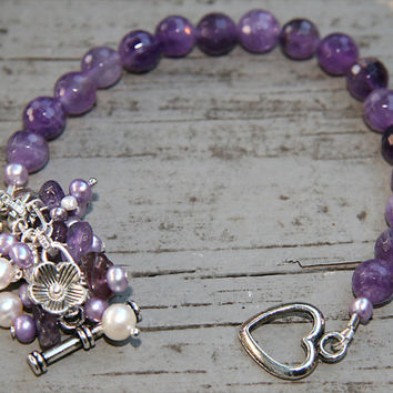 Faceted Amethyst, Amethyst Nuggets, Lavender and White Pearls Bracelet, FEB Birthstone, SP Flower Beads, Wedding, SP Decorative Heart Toggle