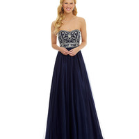 B. Darlin Strapless Beaded Ball Gown | Dillards.com