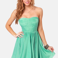 Shake Your Bustier Strapless Mint Green Dress