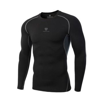 DCCKFS2 2018 Men's New Breathable Running Speed Dry Clothes Outdoor Sports And Fitness Stretch T Shirt Long-Sleeved Quick-drying Shirt