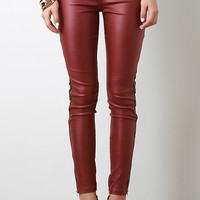 Zippered Two Tone Leatherette Pants