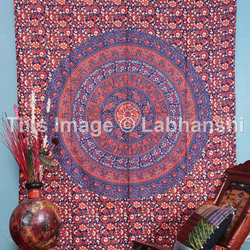 Blue Mandala Tapestry , Indian Hippie Wall Hanging , Bohemian Twin Wall Hanging, Bedspread Sofa Cover Coverlet throw Decor Art