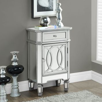 "Brushed Silver / Mirrored 29""H Accent Table"
