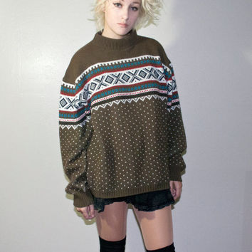 Army green ugly vintage sweater christmas winter wool pattern kitsch hipster urban outfitters retro