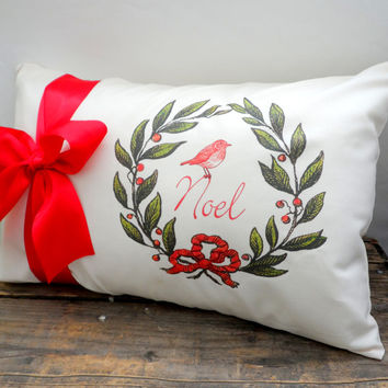 12X18 Bird Noel Slipcover with Red Satin Bow Ribbon, Cream,Shabby Chic with Envelope Back, Home Decor, Vintage Look