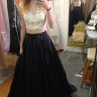 Two Piece Lace Black White Prom Dresses