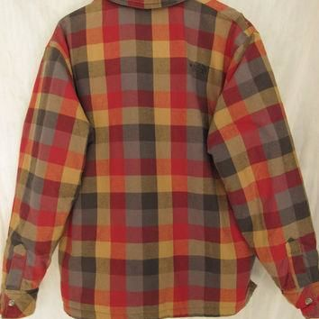 North Face Reversible Jacket Size XL Men's Black Puffer Jacket Plaid Flannel Zip Up 90