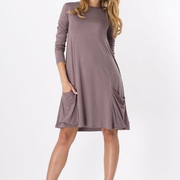Round Neck Loose Dress With Pocket