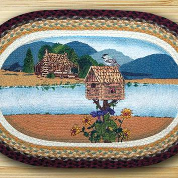 Cabin Lake Oval Patch Rug
