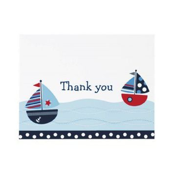 Sail Away Sailboat Nautical Thank You Note Cards Invitations from Zazzle.com