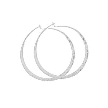 Flora Hammered Sterling Oval Earrings
