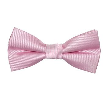 Solid Color Bow Tie - Pink, Woven Silk, Kids Pre-Tied