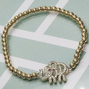 Gold Layered Women Elephant Fancy Bracelet, with Ruby Cubic Zirconia, by Folks Jewelry