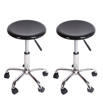 Round Black High Gloss Adjustable Rolling Chairs / Counter Stools (Set of two)