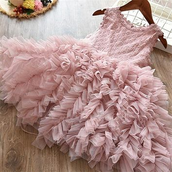 Baby Girls Clothes Little Princess Lace Cake Tutu Sashes Dress Summer Clothes Kids Birthday Pink Vestido Infantil Menina 3 5 8 Y