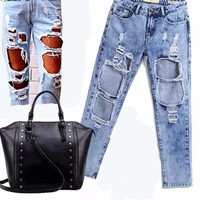 Super Distressed Boyfriend Jeans