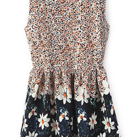 ROMWE Floral Print Pleated Yellow Dress