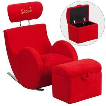 Personalized HERCULES Series Red Fabric Rocking Chair with Storage Ottoman