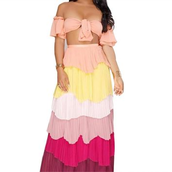 Summer Women Two Piece Set Sexy Wrapped Chest Off Shoulder Short Sleeve Top + High Waist Spliced Draped Skirt Clubwear 2 Pieces