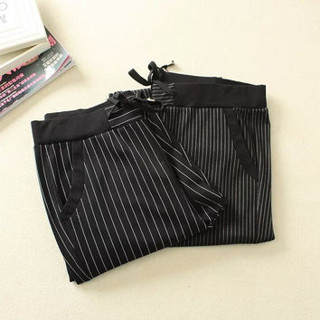 Summer Women's Fashion Cotton Stripes Plus Size Casual Pants [4919974980]