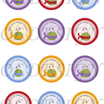 Teenage mutant ninja turtles . 2 Inch Circles. Stickers, Cupcake Topper, Tags, great for birthday partys. Digital file