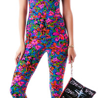 Motel Unitard Jumpsuit Fluro Flower