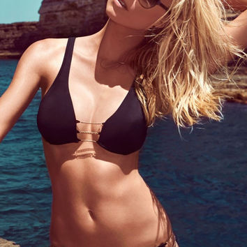 Black Strappy Gold Chain Detailed Bikini