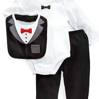 First Impressions Baby Set, Baby Boys Tux 3-Piece Bib, Bodysuit and Pants - Kids Baby Boy (0-24 months) - Macy's