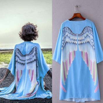 Blue Angel Wings Relaxed Open Cardigan Cover Up Kimono Cape