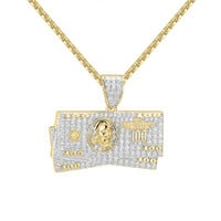 "Designer $100 Bill stack Money Iced Out 14k Gold Finish Pendant 24"" Box Chain"