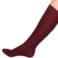 Thin Maroon Knee High Socks