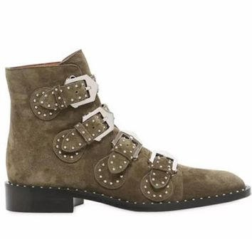 Army Green Leather Stud Buckle Detail Ankle Boots