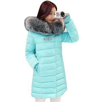 2017 New Winter Jacket Women Long Slim Large Fur Collar Hoode Women  Cotton coat Thick Female Wadded Jacket Plus Size parka