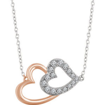 "14K White & Rose 1-5 CTW Diamond Double Heart 16-18"" Necklace"