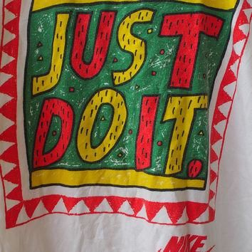 Vintage Vtg NIKE Just Do It Swoosh 90's Streetwear Swag Og Basketball Jordan White T s