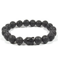 10mm Lava Rock with Black Acrylic Buddha
