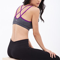 FOREVER 21 Medium Impact - Double Strap Sports Bra Charcoal/Purple